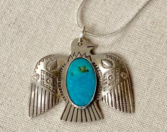 Large Turquoise Thunderbird Pendant Sterling Silver Vintage Fred Harvey Era Native American Artist Signed JP Jane Popovich