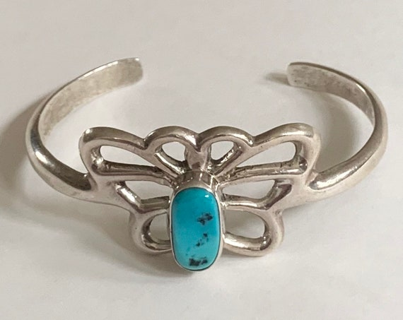 Cast Sterling Turquoise Cuff Bracelet Butterfly Design Sterling Silver Bracelet Vintage Native American Artist Signed LD