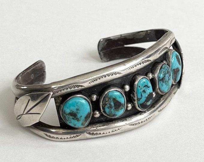 Navajo Turquoise Bracelet Cuff Five Stone Vintage 50s Native American Sterling Silver Split Shank Band Womens Petite XS Wrist