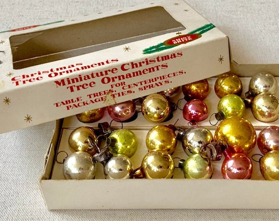 Shiny Brite Miniature Ornaments Christmas Holiday Glass Bulbs Made in Korea Lot of 12 Vintage 50s Mid Century Pastel Pink Green Silver Gold