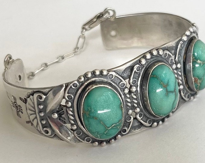 Maisel's Turquoise Bracelet Cuff Vintage Native American Old Pawn Trading Post Era Stamped Sterling Silver Band Three Stone Safety Chain