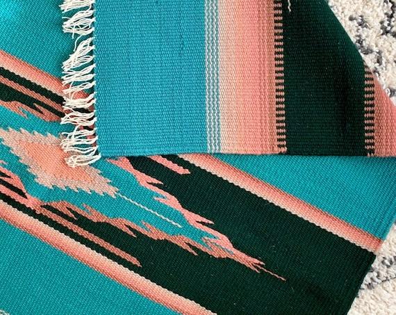 Chimayo Wool Blanket Rug Vintage Ortega's Weaving Shop New Mexico Hand Woven Weaving Serape Style Fringe Edge Turquoise Blue