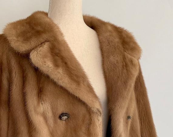 Light Brown Mink Jacket Coat Vintage 50s 60s Pale Brown Beige Fur Bridal Wedding Short Length Size XS S