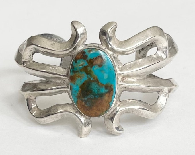 Wide Turquoise Cuff Bracelet Cast Sterling Silver Southwest Native American Open Ornate Band Oval Heavy 52g