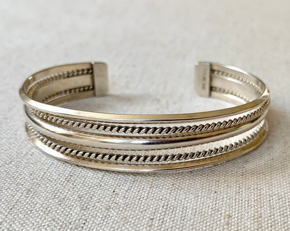 Tahe Sterling Square Bracelet Cuff Vintage Native American Navajo Twisted Rope Artist Signed