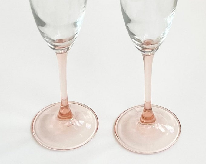 French Champagne Glass Flute Made in France Blush Pink Stem Clear Glass Base Pair Set of 2 Glasses Flutes Valentines Gift