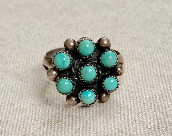 Zuni Turquoise Cluster Ring Vintage Native American Petit Point Old Pawn Jewelry Floral Radial Size 7.25