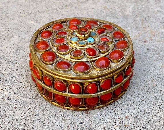 Brass Coral Inlay Box with Lid Small Jewelry Trinket Vintage Boho Bohemian Home Decor Storage Tibetan