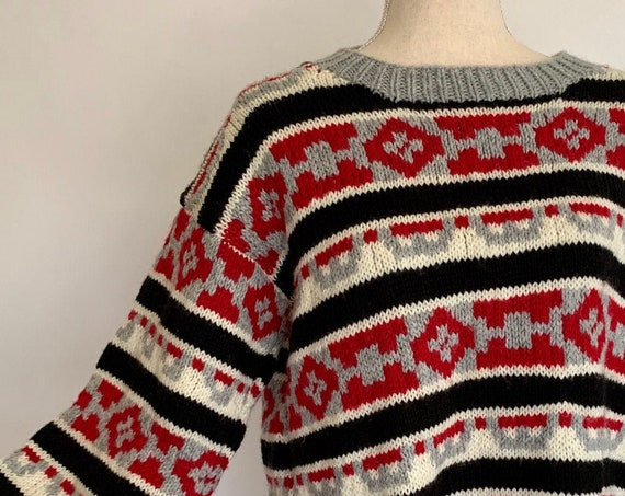 Hand Knit Mens Sweater Vintage Handmade Custom Made by Ruth Cory Red Black Gray Winter White Size M