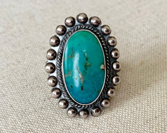 Oval Turquoise Ring Bead Border Vintage Native American Navajo Sterling Silver Hand Stamped Split Shank Band Size 5.5