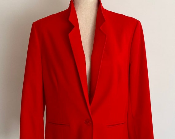 Tomato Red Pendleton Jacket Blazer Vintage Made in USA Vintage Virgin Wool Capsule Wardrobe Staple Womens XS S