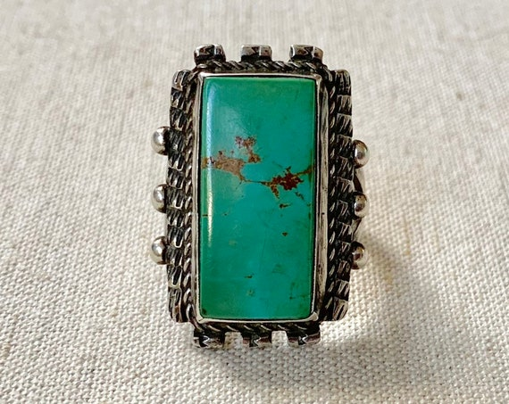 Big Mens Turquoise Ring Vintage Native American Navajo Sterling Silver High Blue Green Turquoise Rectangle Stone Mens Rings Size 11