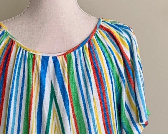70s Terry Cover Up Caftan Kaftan Vintage Retro Beachwear Muumuu Colorful Rainbow Striped Size XS S