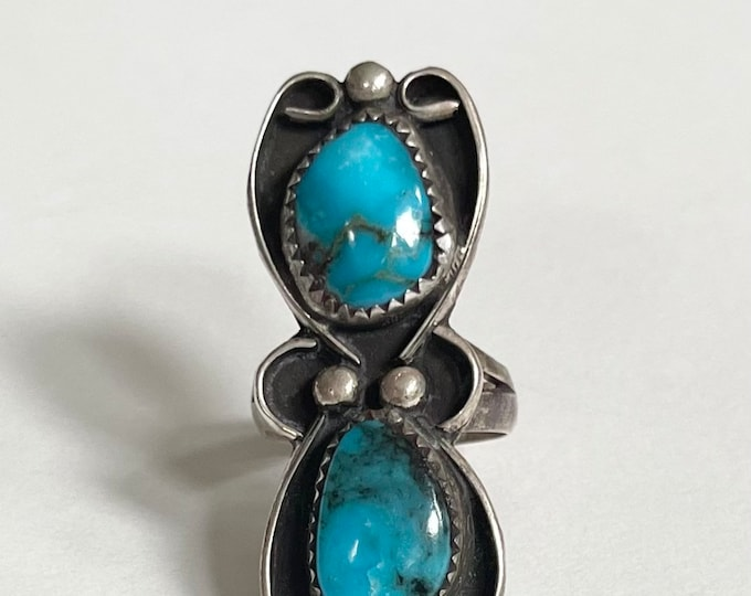 Old Pawn Turquoise Ring Bright Blue Double Two Stones Multi Stone Style Vintage Native American Navajo Sterling Silver Elongated Size 6.5