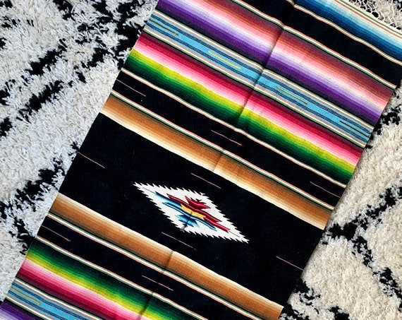 40s Serape Runner Textile Mat Wall Hanging Hand Woven Black Striped Mexican Long Lattice Fringe