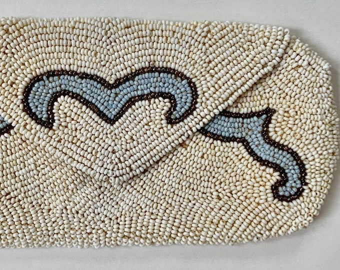 Victorian Beaded Clutch Purse Antique Vintage Ivory Pale Light Blue Fine Beading Hand Made in Belgium Wedding Bridal
