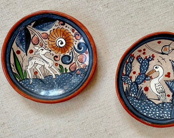 Mexican Ring Trinket Dish Tray Lot of Two Vintage Hand Painted Pottery Hecho en Mexico Made in Mexico Deer Bird Floral Flower Folk Art