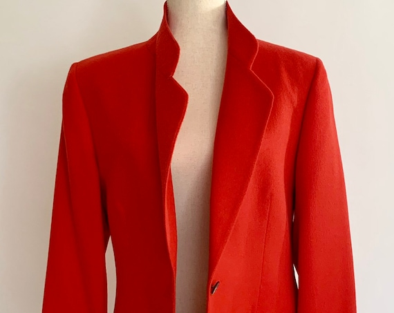 Red Camelhair Blazer Jacket Vintage Ing Loro Piana & C Italy for Pietrafesa Woven in USA Long Oversize Fit Womens M