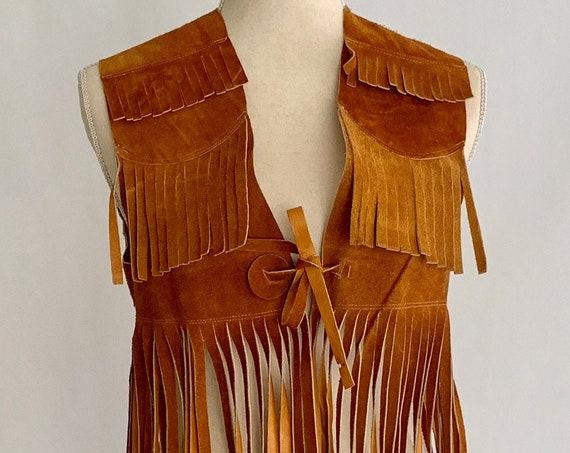 """Western Leather Fringe Vest Topper Dress Vintage Handmade in Mexico Brown Suede Long 20"""" Fringe Boho Bohemian Festival"""