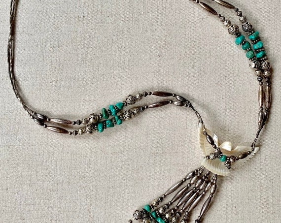 70s Eagle Turquoise Necklace Long Carved Mother of Pearl Bird Native American Navajo Pearl Style Long Multi Strand