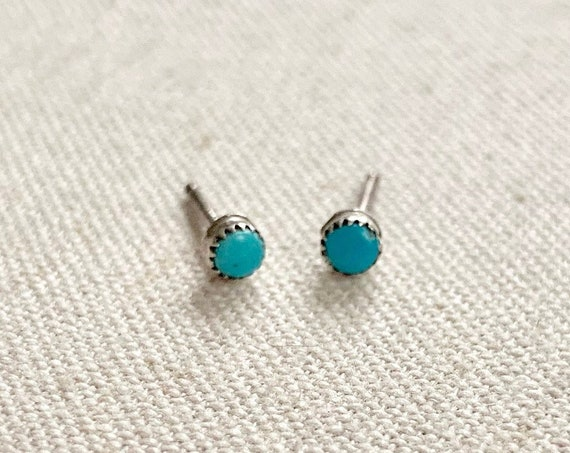 Tiny Turquoise Stud Earrings Vintage Southwest Native American Navajo Sterling Silver Studs Small