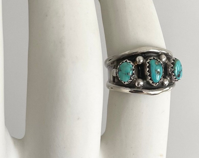 Navajo Turquoise Ring Band Vintage Native American Handcrafted Sterling Silver Cigar Band Size 8