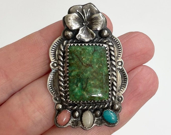 Navajo Sterling Silver Pendant Vintage Native American Large Multi Stone Pendant for Necklace