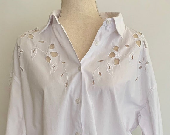 Broderie Anglaise Tunic Top Button Down Shirt Vintage 80s White Cotton Made in India Size S M
