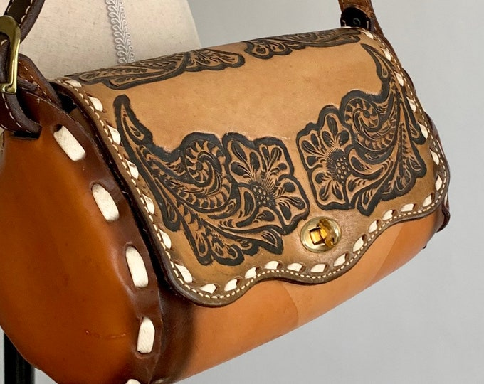 70s Tooled Leather Purse Handbag Bag Vintage 70s Brown Black Floral Design White Stitched Border Long