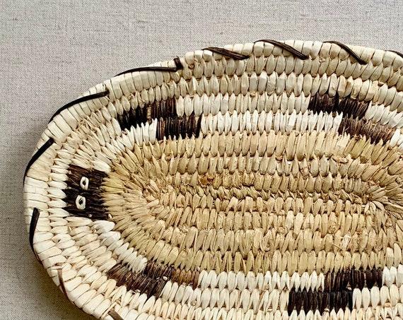 Tohono O Odham Basket Tray Shallow Bowl Vintage Native American Handmade Small Oval Coil Basket