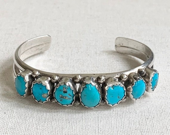 Navajo Turquoise Bracelet Cuff Vintage Native American Sterling Silver Pyrite Flecked Multi Stone