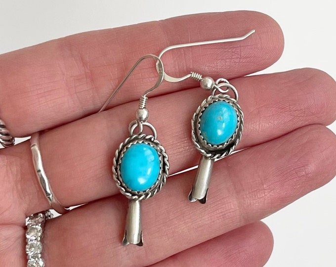Turquoise Squash Blossom Earrings Vintage Native American Navajo Sterling Silver Dangle Drop Style Blue Gem Turquoise Stone