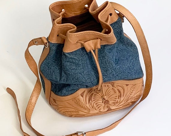 Tooled Leather Purse Handbag Handmade in Paraguay Hobo Bucket Bag Soft Floral Tooled Leather Drawstring Closure Denim Fabric Body