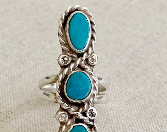 Long Turquoise Ring Triple Three Multi Stone Vintage Native American Navajo Sterling Silver Elongated Statement Ring Size 8