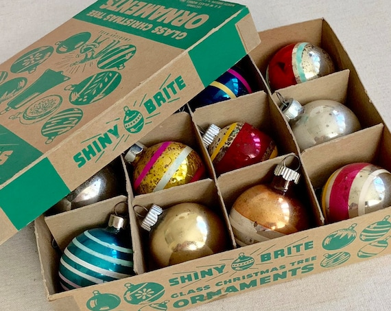 Small Shiny Brite Ornaments Glass Bulbs Lot of 12 in Box Striped Silver Gold Blue Vintage Mid Century Christmas