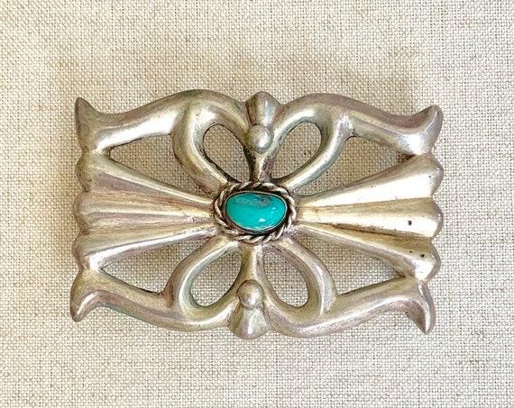Turquoise Belt Buckle Sandcast Sterling Silver Vintage Native American Navajo Artist Signed HS