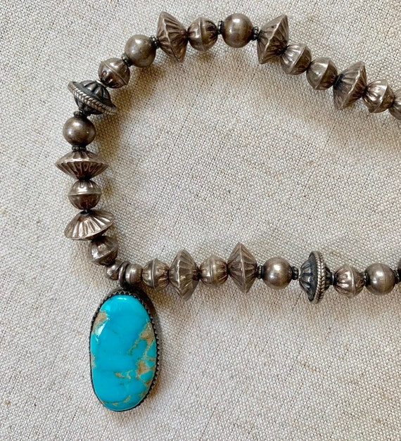Turquoise Bench Bead Necklace Vintage Native American Navajo Pearls Beaded Necklaces Old Antique Patina 19""