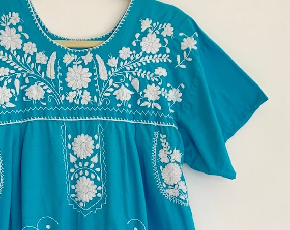 Mexican Cotton Dress Caftan Kaftan Vintage 70's Turquoise Blue White Floral Embroidery Embroidered Summer Beach Cover Up