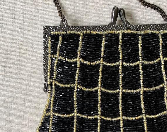 Black Gold Beaded Purse Evening Bag Vintage 80s Chain Strap Glam Party Cocktail Black Tie Made in India