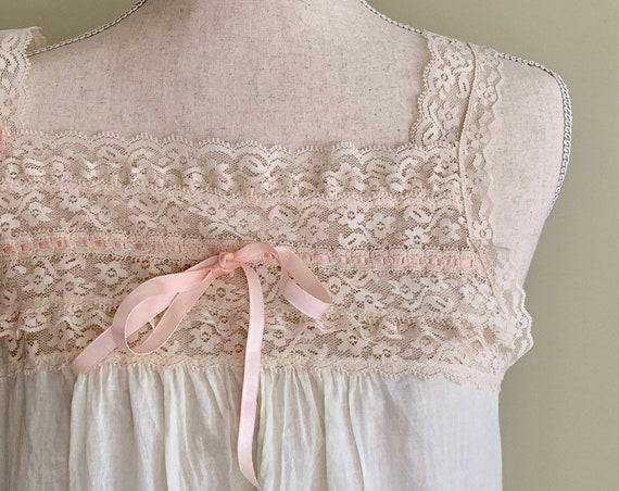 362da130241 Floor Length White Nightgown Slip Nightie Vintage Formfit All Cotton  Romantic Floor Length Size XS