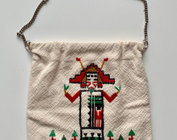 Native American Hobo Bag Purse Southwest Kachina Figure Vintage Natural White Cotton with Chain Strap