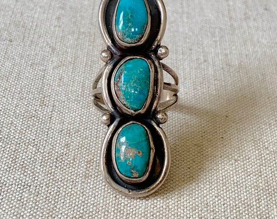 Long Turquoise Ring Triple Three Multi Stone Vintage 60s Native American Navajo Sterling Silver Elongated Statement Ring Size 8.25