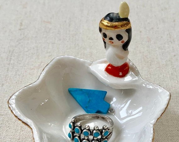 Mid Century Ring Dish Tray Catchall Trinket Dish Porcelain Native American Figurine Hand Painted