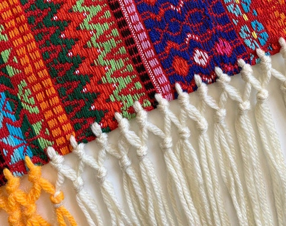 Southwest Hand Woven Textile Throw Afghan Wall Hanging Vibrant Colors Colorful Vintage Fiber Arts Long Fringe