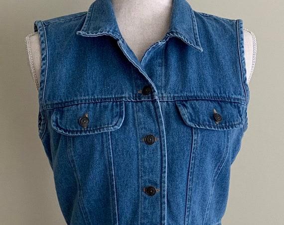 Cropped Denim Jean Vest Sleeveless Jacket Vintage 90s Medium Wash Made in USA XS