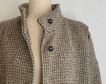 Gray Tweed Wool Coat Vintage 70s 80s Forecaster of Boston High Funnel Neck Cocoon Cut Made in USA Size S M