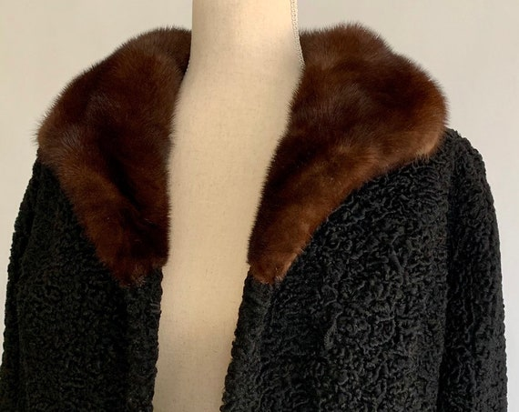 Black Lamb Fur Coat Vintage 50s O'Neils Department Store Persian Lamb Dark Brown Mink Collar Women's Size XS S