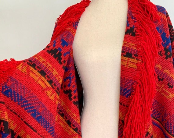 Statement Blanket Coat Poncho Southwest Style Handmade Vintage Handwoven Fiber Arts Fringe Hem Red Black Blue One Size
