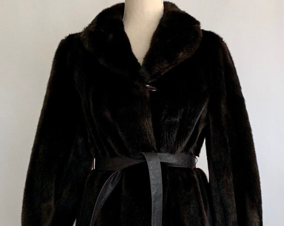 Tissavel Faux Fur Coat Vintage 50s Tissavel Made in France Rich Dark Ebony Brown Evening Long Full Length Jacket Women's Size S M