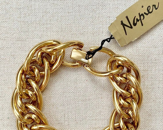 80s Gold Link Bracelet Vintage Napier with Original Tag Chunky Heavy Gold Tone Chain